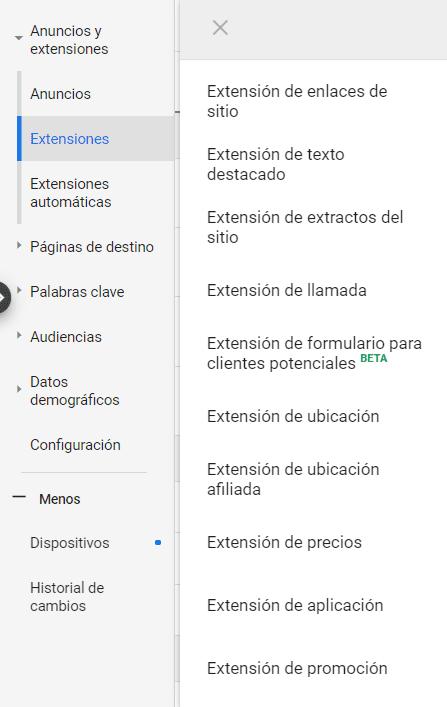 Extensiones de anuncio