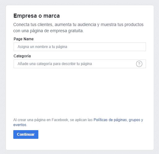 Página de empresa en Facebook