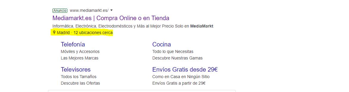 Extensión anuncio Google Ads