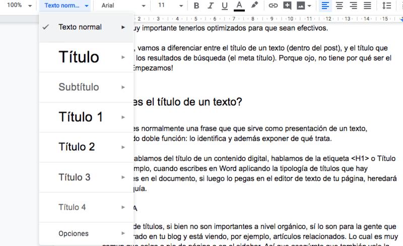 Organización de los títulos de un texto