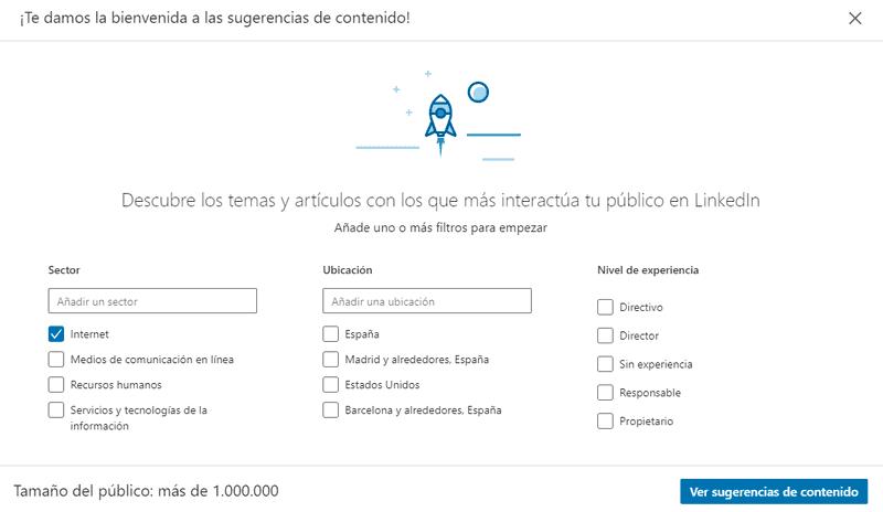 """Usa la opción """"Sugerencias de contenidos"""" en tu perfil de empresa de Linkedin"""